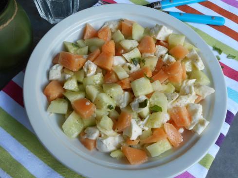 salade concombre melon mozza