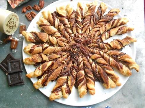 tarte soleil choco caramel noix