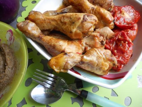pilons de poulets balsamique pureeaubergine 1