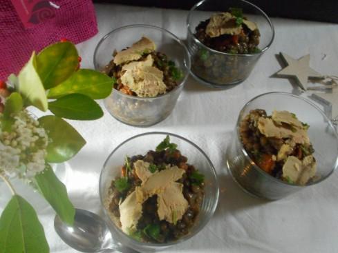 salade lentilles foie gras grenade noisette 1