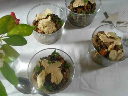 salade lentilles foie gras grenade noisette 3