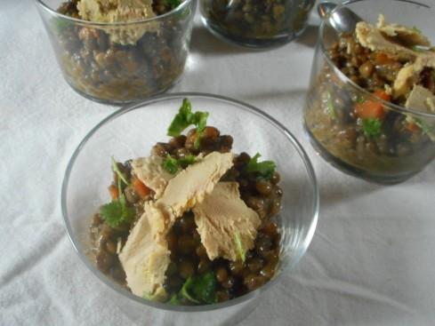 salade lentilles foie gras grenade noisettes
