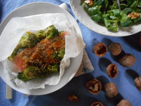 saumon en papillotes orange noix 1