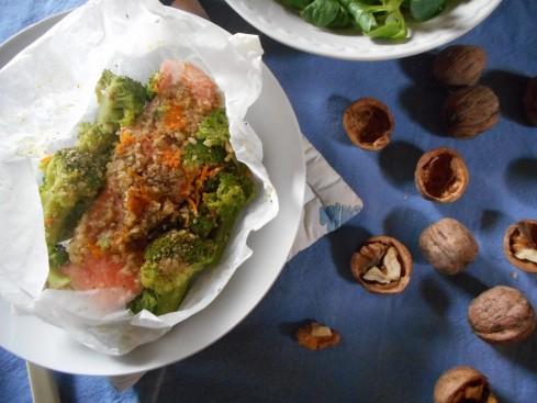 saumon en papillotes orange noix