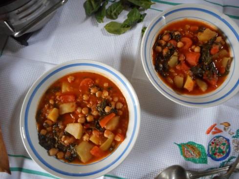 soupe épicée pois chiches tomates épinards 2