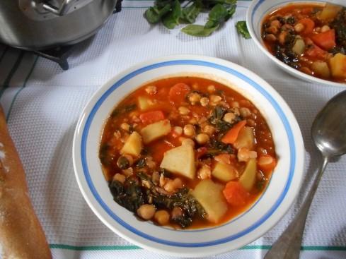 soupe épicée pois chiches tomates épinards 3
