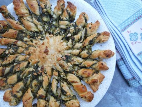 tarte soleil épinards chevre parmesan