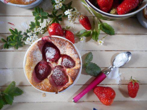 clafoutis chèvre fraises 2